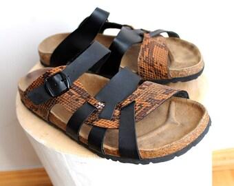 Vtg LEATHER Cork Slides SNAKE Print Birkenstock Style Strappy Sandals  Minimal Womens Summer Vacation Platform Python