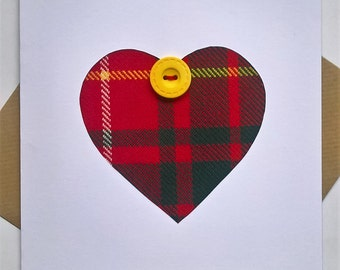 Tartan heart card with button