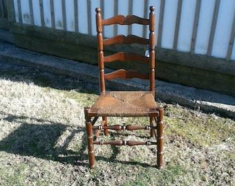 Antique Ladder Back Chair Walnut Finish Rush Seat