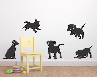 Puppy Vinyl Wall Decal Set Of 5   Puppy Decal   Nursery Vinyl Wall Decal