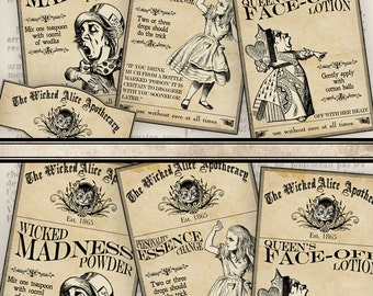 Wicked Alice in Wonderland Apothecary Labels Labels Tags printable images instant download digital collage sheet VD0727