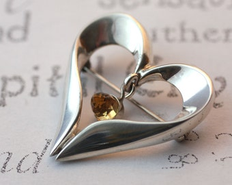 Open Heart Sterling Silver Brooch Citrine Gemstone Heart Brooch  Modern Silver Open Heart Pin Birthstone Jewelry