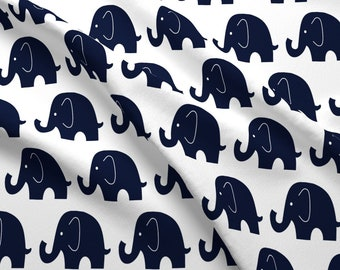 Navy Elephants Fabric - Dark Navy Elephants By Sewluvin - Navy Blue White Elephants Nursery Decor Cotton Fabric By The Yard With Spoonflower