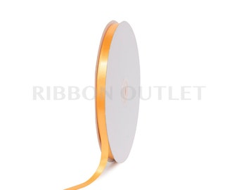 "3/8"" Mango Light Gold Satin Ribbon 100 Yards Per Roll"