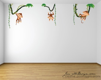 Monkey Nursery Fabric Wall Decals,Cute Little monkeys hanging in the vines wall stickers,Removable Fabric Wall Decals,FREE US SHIPPING