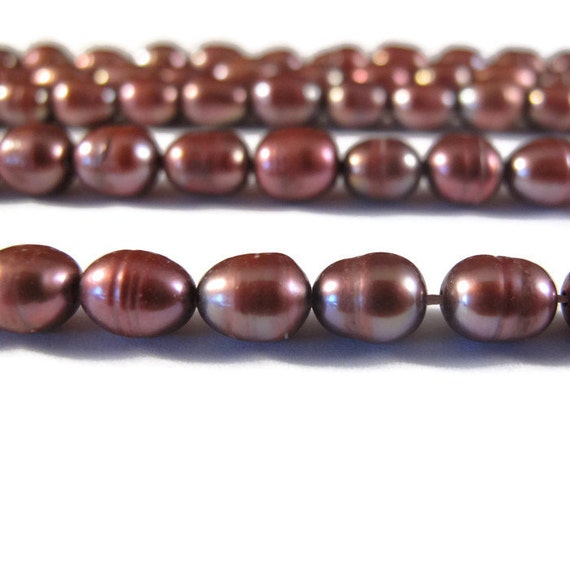 Bronze Freshwater Pearls, Luminous Freshwater Pearls, Plum Rice Pearls, 8mm x 6mm, 15 Inch Strand, Over 46 Loose Pearls (P-R3)
