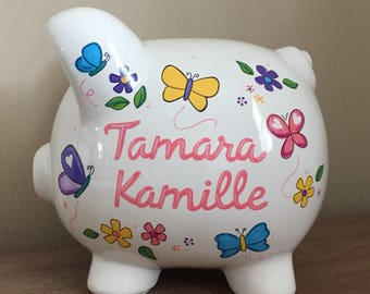Personalized Butterflies and Flowers Piggy Bank