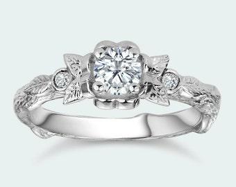 Twig Engagement Ring Diamond Leaves Flower Ring Tree Bark Texture Alternative Bridal Nature Inspired