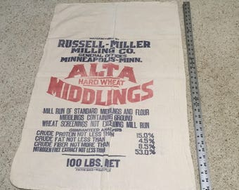Large Russel-Miller Milling Co. Flour or Seed Sack