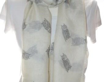 Cream owl bird Scarf shawl, Beach Wrap, Cowl Scarf,owl print scarf, cotton scarf, gifts for her