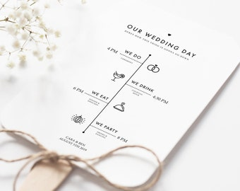 Rustic Wedding Program Printable - DIY Minimalist Wedding Program Fan