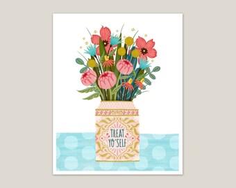 Treat Yo' Self Bouquet - Art Print 8x10