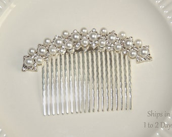 Pearl Crystal Bridal Hair Comb, Art Deco Wedding Hair Piece, Crystal Rhinestone Bridesmaid Hairpiece, Silver Hair Jewelry, Ready To Ship