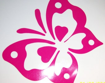 """5"""" Hot Pink Vinyl Butterfly Wall Decals / Butterfly Wall Decals / Girls Room Wall Decal"""