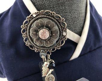 Metallic Flower ID Badge Reel/Vintage Floral Badge Reel