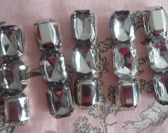 5 cabochons rhinestones white/silver 5 * 1 cm