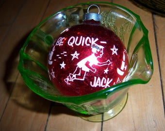 Vintage Christmas Shiny Brite Jack Be Quick Jump Over Candle Stick Red Mercury Glass White Stenciled Tree Ornament