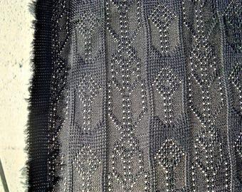 "Vintage Black Deco Chevron Stretch Lace Fabric Finished Weft 39"" x 1.83 yards"