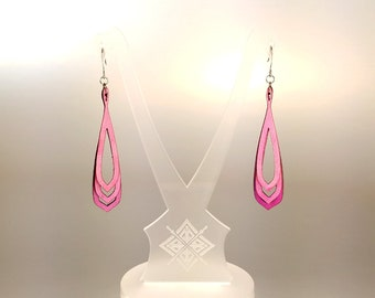 Leather Earrings // Laser Cut . Hand Dyed Fuchsia Pink . Lightweight . Layers // Saturā S2 v.16