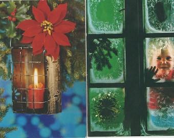 2 Unused Christmas Cards, c1980, good shape, Children, Candle
