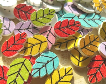"Wood Leaf Buttons - Wooden Painted Leaves Button - Sewing Crochet Quilting Buttons - 13/16"" Wide - 24 Assorted Buttons"
