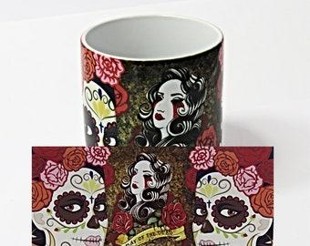 Sugar skulls, Day of the Dead, Coffee Mug, Sugar Skulls Lady, Ideal Gift for Her