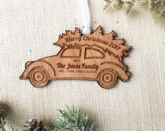 Personalized Family Christmas Ornament - Christmas Tree on a Vintage Beetle Bug Car Ornament - Stocking Stuffer - Hostess Gift