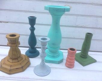 candlesticks, painted candlesticks, BoHo candlesticks, table decor, home decor, cottage chic, candlestick set, CB61