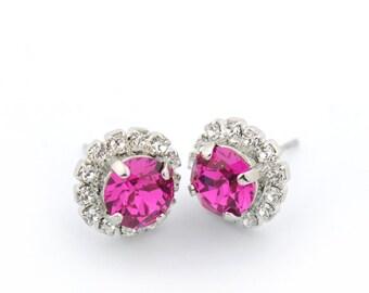 Rhinestone earrings - pink stud earrings - crystal post earrings - Christmas earrings - fuchsia rhinestone earrings - Swarovski crystal