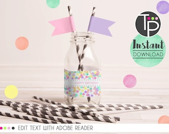 CONFETTI WATER BOTTLE Labels, Pastel Confetti Party, 1st Birthday, Print yourself water bottle labels, Confetti Party Printable, Water label