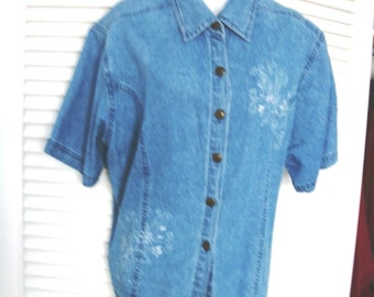 Blue Denim Embroidered shirt/blouse sz 16 by  DR Donna Ricco