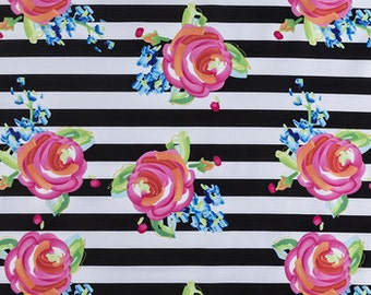 Black white Stripe, blue  Rose  floral  fabric  Fabric  fat quarter, 1/2yard. or by the  yard Cotton  quilting apparel fabric