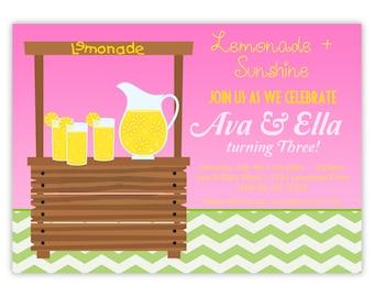 Pink Lemonade Invitation - Twin Pink, and Green Chevron, Lemon Lime Lemonade Personalized Birthday Party Invite - a Digital Printable File
