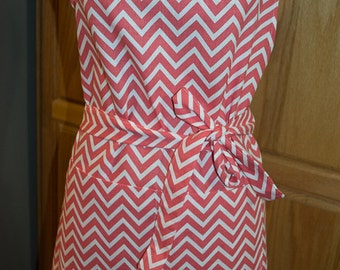 Coral and White Chevron Cotton Duck Full Apron - Free Shipping