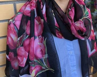 Tulips Black Chiffon Scarf