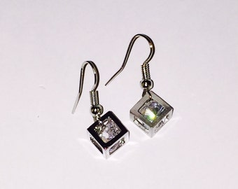 CLOSEOUT Rhinestone Cube Drop Earrings. Cube Earrings. 3D Earrings.