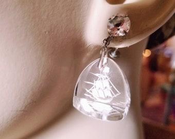 Etched Glass Earrings, Ship Earrings, Nautical Dangling, Vintage Nautical, Glass Earrings, CZ Glass Dangle Earrings, Cruise Earrings