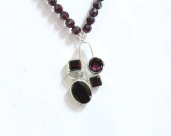 Beaded Garnet Necklace with 925 Sterling Silver Pendant Garnet Pendant Necklace Red Stone Necklace Round Faceted Beads Necklace