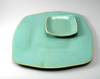 Platter Tapas Appetizer Set-Pottery Platter Plates-Stoneware Platters-Cheese Plate-Ceramic Servers-Pearl Green Glaze-Ready to Ship