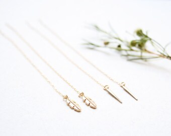 Gold threader earrings, Threader earrings, Gold spike or feather earrings, Chain earrings, Pull through earrings, Long chain earrings