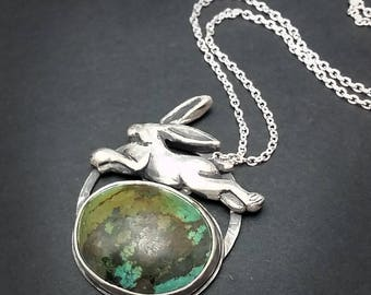 Rabbit Leaping Himalayan Turquoise Pendant - Green and Blue