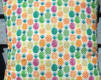 Pineapple Print decorative cotton cushion cover. Bright, Funky, Summer home decor 16x16