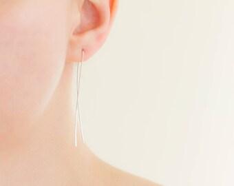 Hand Forged Argentium Silver Minimalist Earrings, Long Drop, Minimal Elegant Curved Threader, Hypoallergenic Nickel Free Sterling Jewelry