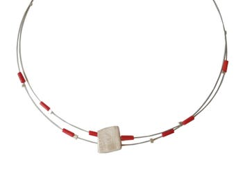 Red coral necklace, silver necklace with pearls,dainty necklace,modern necklace,evryday jewelry,minimalist necklace,red necklace
