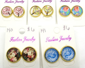 Choice of Design Flower/Tree Theme Gold Tone Button Earrings 14mm (J6m)