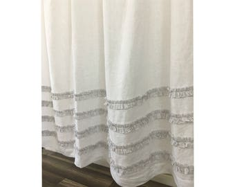 White Linen Shower Curtain with Grey ticking stripes 4 rows of Ruffles, 72x72, 72x85, 72x94, 72x72, Custom Shower Curtain Extra Long, Wide