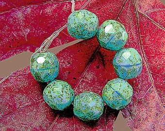 new! 15 pearls of Bohemia faceted - subtle green speckled turquoise shades - 8 mm