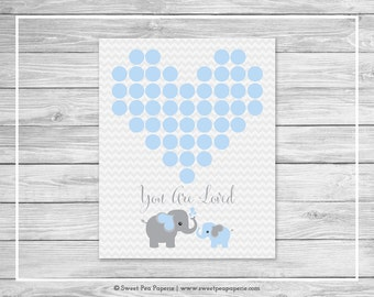 Elephant Baby Shower Guest Book - Printable Baby Shower Guest Book - Blue and Gray Elephant Baby Shower - Baby Shower Guest Book - SP102