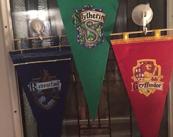 Harry potter inspired hogwarts house banners pennants all 4 houses