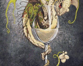 White Wine Dragon  - emailed PDF cross-stitch chart / pattern, original art © Stanley Morrison  licenced by Paine Free Crafts
